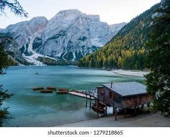 Braies Lake (Lago di Braies, Pragser Wildsee) in Dolomites mountains, Sudtirol, Italy.