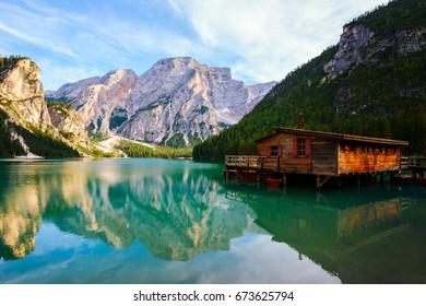Braies Lake ( Pragser Wildsee ) in Dolomites mountains, Sudtirol, Italy