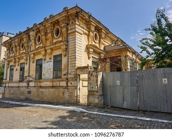 Braila, Romania - May 20, 2018:  Built around 1910, at a strategic point in the old town, the wonderful but in a pitiful Cavadia House is a representative for the old Braila