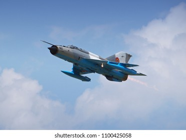 BRAILA, ROMANIA - MAY 26, 2018. MiG-21 Lancer plane at Vadeni Fly-In air show. The MiG-21 is a supersonic jet fighter and interceptor aircraft manufactured in the Soviet Union.