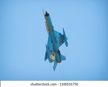 BRAILA, ROMANIA - MAY 26, 2018. MiG-21 Lancer jet at Vadeni Fly-In air show. The MiG-21 is a supersonic jet fighter and interceptor aircraft manufactured in the Soviet Union.