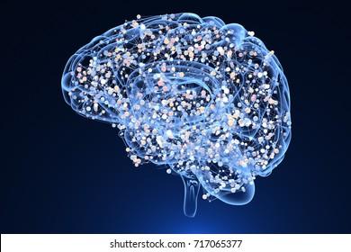Brain activity during thinking. 3D illustration