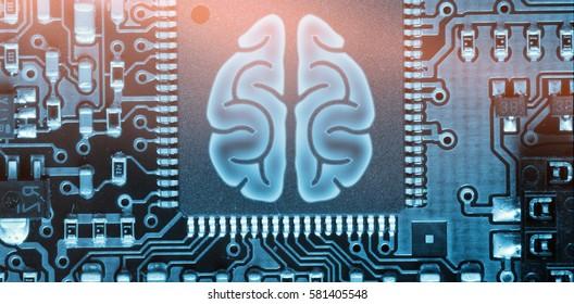 Brain against green pcb
