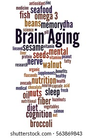 Brain Aging, word cloud concept on white background.