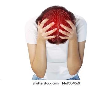 Brain Attack Girl Female Woman Asia Diseases Headache Chronic Trouble Stressed Tried.