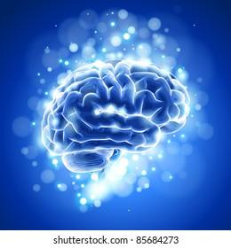 brain & blue bokeh abstract light background. Bitmap copy my vector ID 73068175