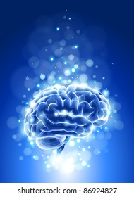 brain & blue bokeh abstract light background. Bitmap copy my vector ID 72592834