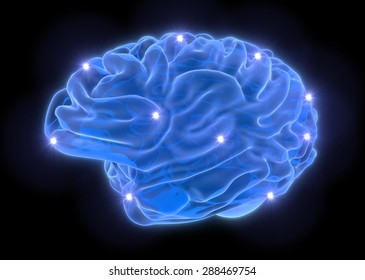 Brain from blue neon lines on black background - idea concept