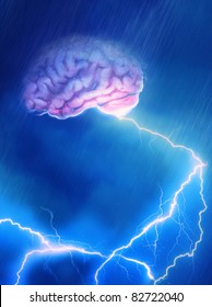 A Brain caught in the storm giving off lightning- Brain Storming