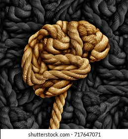 Brain disorder mental health concept as a rope twisted into a human thinking organ as a medical neurological symbol for mind function or diseases as dementia or autism.