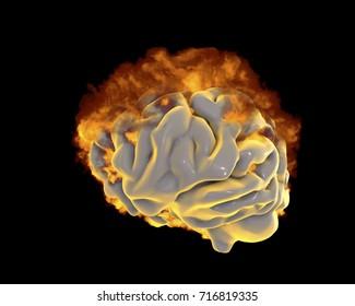 Brain in fire, conceptual image for psychological burnout, 3D illustration