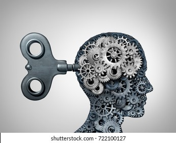 Brain function symbol and psychology mind as a human head with gear and cog symbols as a thinking concept as a 3D illustration.