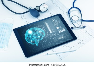 Brain functionality report with medical devices around