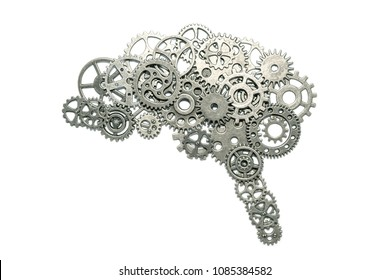 brain of gears on a white background. assembled from the details of the puzzle. Concept business idea, thought process, innovation, industry, invention, mind.