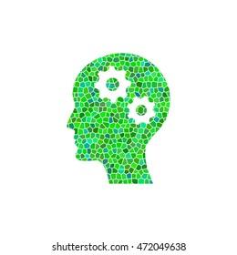 Brain - green  mosaic illustration