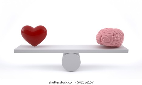 Brain and heart on a balance scale.3D Rendering.