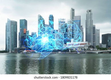 Brain hologram over panorama city view of Singapore, the largest science hub in Asia. The concept of developing coding and high-tech science. Double exposure.