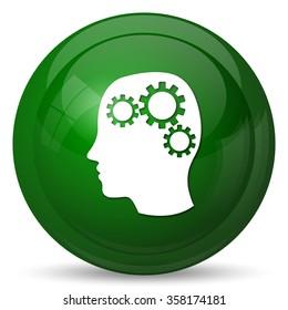 Brain icon. Internet button on white background.