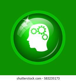 Brain icon. Internet button on green background.