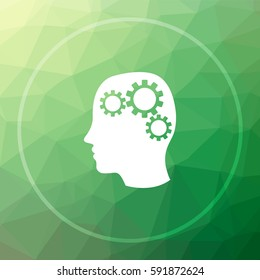 Brain icon. Brain website button on green low poly background.