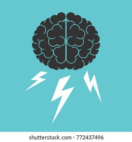 Brain and lightnings. Brainstorming, creativity, intelligence and thinking concept. Flat design