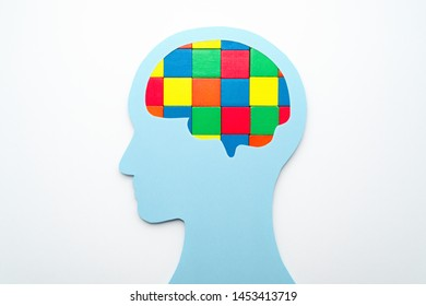 Brain and mental concept. Head silhouette and brain shaped cube pieces on white background.