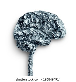 Brain metal accumulation concept and human mind lobe as a thinking organ made of a metallic material as a neurology and neuroscience symbol.