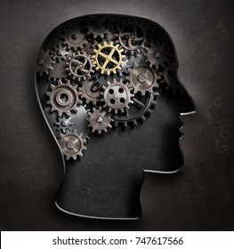 Brain model concept made from gears and cogwheels in metal plate 3d illustration