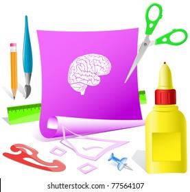 Brain. Paper template. Raster illustration.