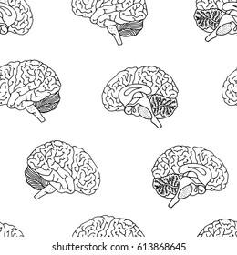 Brain pattern, seamless white and black hand drawn illustration