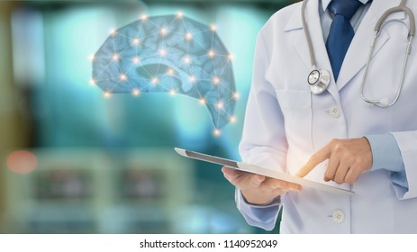 brain power and medicine science innovative concept. doctor check up brain of patient from digital tablet.