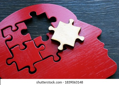 Brain problems or mental illness. The shape of a human head with a puzzle piece.