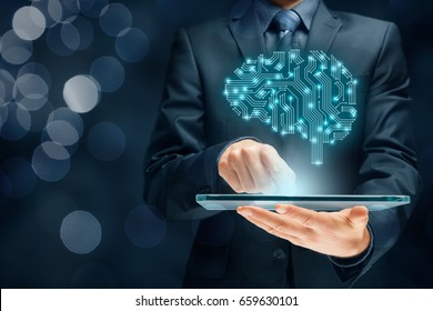 Brain representing artificial intelligence (AI), data mining, expert system software, genetic programming, machine deep learning, neural networks and another modern computer technologies concepts.