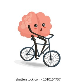 Brain riding bike cartoon character. Healthy and fitness. Flat illustration isolated on white