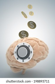 brain, safe, money and finance concept