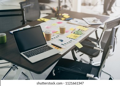 brain storm creativity ideas concept with paper stuff on working table desk office background