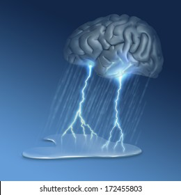 Brain Storm - many uses, for example this image could illustrate grieving, mental illness or creativity - 3d rendered brain with digital painting.