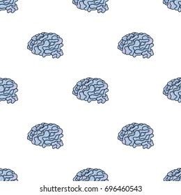 Brain in the virtual reality icon in cartoon style isolated on white background. Virtual reality symbol stock bitmap, raster illustration.