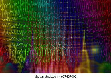 Brain wave on EEG background, Electroencephalogram