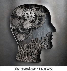 Brain work model. Thinking,  psychology, creativity, language concept.