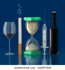 brains injected with sand in the hourglass because of the bad habits