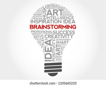 Brainstorm bulb word cloud collage, business concept background