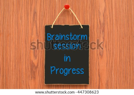 brainstorm session progress sign wood grain stock photo edit now