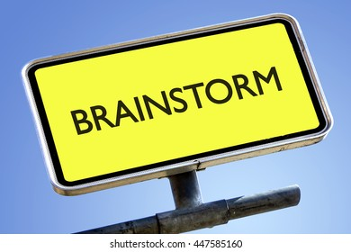 BRAINSTORM word on roadsign with yellow background