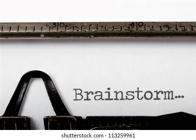 Brainstorm written on a vintage typewriter