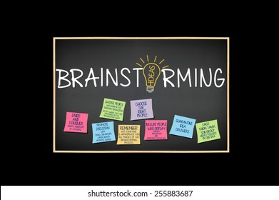 Brainstorming Blackboard: Choose the Right People, Quarantine Idea Crushers, Promote Discussion, Divide and Conquer Ideas Light bulb post it notes isolated on black background