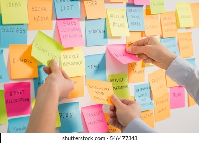 brainstorming brainstorm strategy workshop business note notes stickyconcept - stock image
