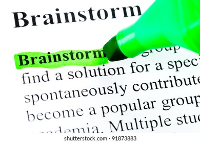 Brainstorming  definition highlighted by green marker on white