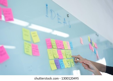 Brainstorming ideas with sticky notes
