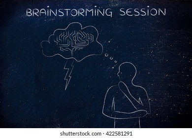 brainstorming session: thoughful man with brainstorming thought bubble with lightning bolt and brain design